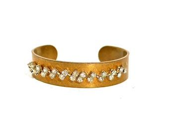 Cuff Bracelet, Vintage Rhinestones, Mixed Metals by Dabchick Vintage Gems on Etsy