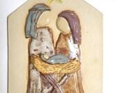 ON SALE Nativity Relief Ceramic Plaque in Plum and Light Blue- SALE 1/2 Price