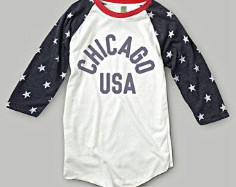 Chicago USA America Tri-Blend Raglan T-Shirt