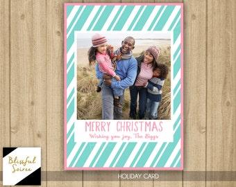 Custom Photo Christmas Card | Merry Christmas | Pink Christmas | Holiday Card | Christmas Photo Card | DIY Printable |