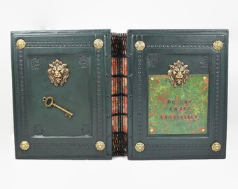 Green Leather Grimoire and Laboratory Journal // Brass Lion Artist Book