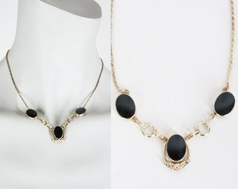Vintage 50s Necklace / 1950s Van Dell 12k Gold Filled Necklace with Onyx Cabochons