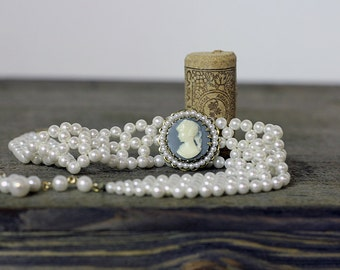Vintage Beaded Pearl Choker with Powder Blue Cameo Pendant