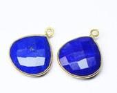 VALENTINE SALE 55% Charms, Lapis (Heart), 10.5mm handmade 925 silver rim bezel pendant charm. Sold per 1 piece. SKU2687
