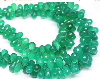 VALENTINE SALE 55% Green Onyx Faceted Tear Drop Briolette Beads Strand, 8 Inches, 6-11mm, SKU9000/S