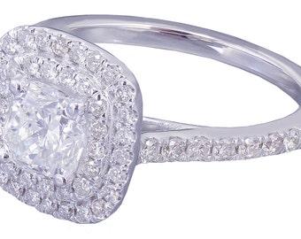 14k White Gold Cushion Cut Diamond Engagement Ring Soleste 1.85ctw G-VS2 EGL USA