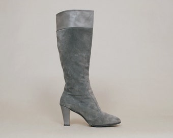 Grey Boots 80s Suede High Heel Tall Grey Leather Gogo Boots 1980s Disco/ Size 9