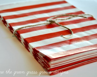 Red and White Paper Party Bags Horizontal Stripes