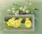 Trio of Baby Chicks and Spring Lily-of-the-Valley on Embossed Vintage Easter Postcard GDD