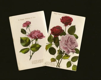 Pair of Romantic Floral Vintage Birthday Postcards Photos of Pink and Red Roses 1911
