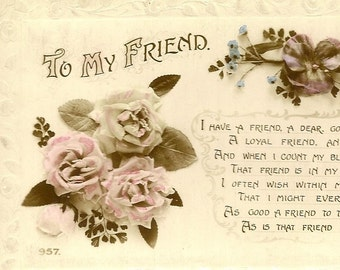 Vintage Floral Postcard To My Friend Roses and Pansies – Lovely Poem of Friendship