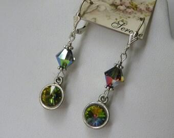 Green Crystal Rivoli Vitrail Swarovski Crystal Small Green Dangles Swarovski Crystal Earrings Green Earrings