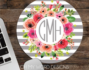Monogram Mouse Pad-Monogram Mouse Pad-Desk Accessories-Watercolor Flowers-Round Mouse Pad-Stripes and Flowers-Shabby Chic