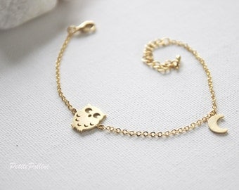 Owl Bracelet in Gold/ Silver. Owl with Moon Bracelet. Sweet and Cute. Everyday Wear. Gift For Her (PBL-16)