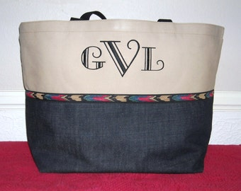 Extra Large Personalized Tote Bag with Vintage Western trim Mongrammed Tote