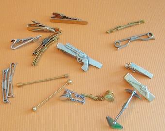 Vintage Antique Shirt tie accessories collection tie tacks, tie pins, tie clips, tie bars, collar bars, bar clasps