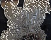 Tri Chem Rooster Suncatcher to Paint - Clear Plastic - Vintage