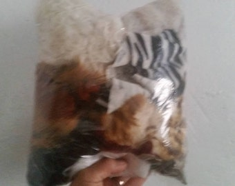 Faux Fur Scraps in a One Gallon Bag Neutral Colors