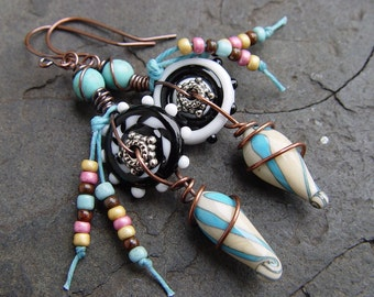 Pinwheels Earrings - Lampwork and Copper