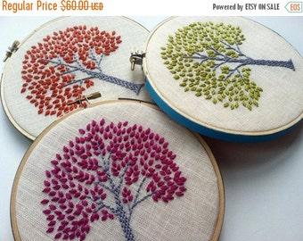 On Sale Tree hand embroidered in aqua, orange, citrine green, purple, spring green or magenta - home decor hoop art by mlmxoxo