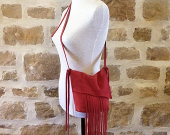 pink suede leather handbag crossbody with fringe by Tuscada. Ready to ship.