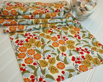 Floral Table Runner, Autumn Table Runner, 13x72 Floral Table Runner, Floral Table Cloth, Gold Red Blue Green Table Runner