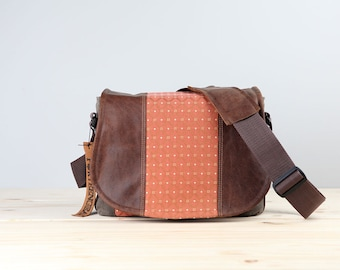 Peach Coral Chocolate Leather Camera Satchel DSLR- PRE-ORDER