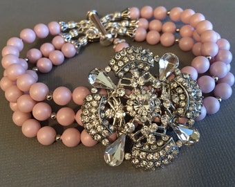 Blush Bridal Bracelet in Pastel Pink Pearl and Rhinestone focal 3 strands of Swarovski pearls in your color bridal wedding jewelry