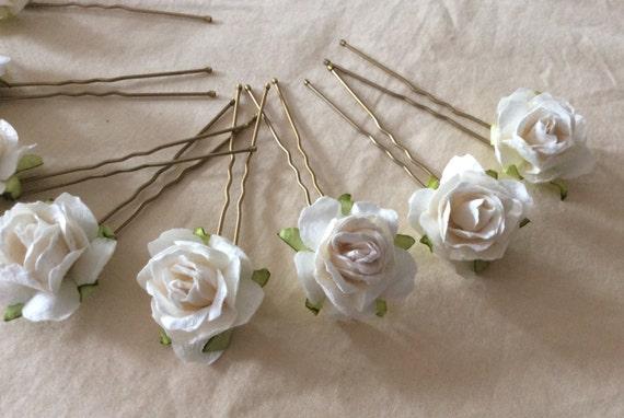Ivory Rose Hairpins x 8. Paper. Wedding. Bridal, Regency, Victorian