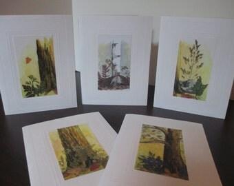 Mixed Media Watercolor Notecard Set of 5 cards