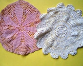Vintage  Crocheted Doilies, Pink and White