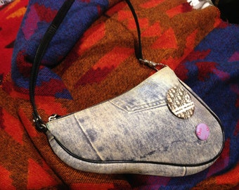 Blowout Sale. Vintage Christian Dior washed Denim with badges Saddle mini shoulder bag. Excellent Cond.
