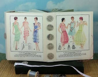 Ladies Evening Dress Fashion Journal with Vintage 1920's Sewing Pattern Wraparound Cover