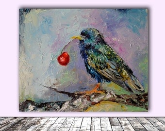Happy Starling, Cherry and Starling Modern Original Oil Painting, Ready to Hang Knife Palete Painting