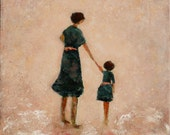 Original Figurative Painting Mother Daughter Painting With Hands Held Swalla Studio 16 x 20  x 1.5