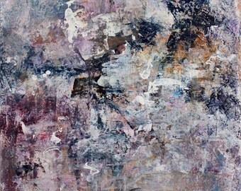 Original painting Large Abstract Expressionism Painting lavender purple navy To Places 22x28  Swalla Studio