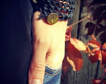 Black Macrame Hemp Opera Long Necklace or Bracelet Wrap Antique Silver Gold Simple Collection Minimal Earthy Classy Luxury Hippie Boho Chic