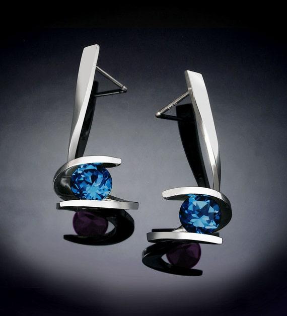 blue topaz earrings, London blue topaz earrings, Argentium silver earrings, December birthstone, statement earrings, modern earrings - 2479