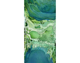 Blue green abstract watercolor print, small modern wall art, fantasy topography art, Illyria 1