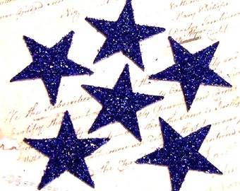SAPPHIRE Blue Stars 2 inch Glass Glitter Chips Set of 6