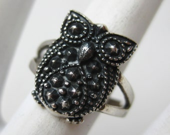 Vintage Ring Sterling Silver Hoot Owl Novelty Ring size 6