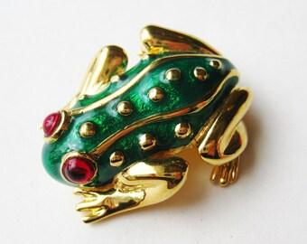 Vintage Carolee Green Enamel Gold Frog Jeweled Eyes Brooch Pin