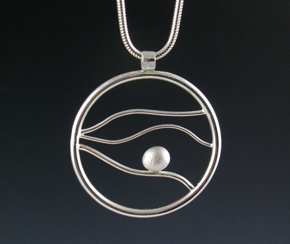 "Large Round Sterling Silver Pendant Necklace, ""Tidal,"" Handmade"