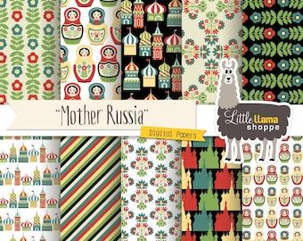 50% Off - Russia Digital Paper Pack, Ukrainian Scrapbook Paper, Babushka Dolls, INSTANT DOWNLOAD, 8.5x11 and 12x12