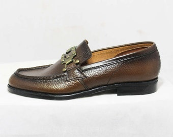 Size 12.5 Boys Shoes - Authentic 1960s Brown Leather Loafers - Child Size Boy's 12 1/2 D - Chunky Mod Buckle - Deadstock in Box - 45946-2