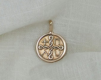 Hand Crafted Solid Ancient Bronze  Elements Necklace Pendant