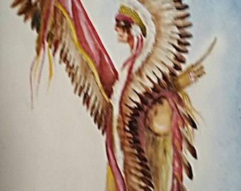Painting - Copy of Original Artwork (Full Regalia) Watercolors - Painted - Art - Decorate - American Indian - Gift Idea - Poster - Wall Art