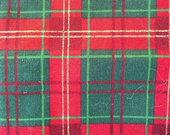 Red, Green and Gold Plaid Cotton Fabric Almost 2 Yards X0481 Christmas Plaid