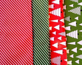 Four Christmas Print Fat Quarters Stripes, Christmas Trees, Red, Green X0538