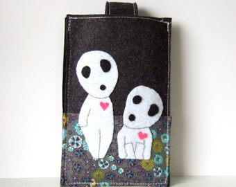 Kodama princess mononoke felt smart phone case / iphone cozy / samaung galaxy cover dark